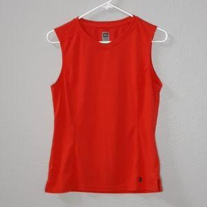 REI Red Spun Polyester V Neck Tanktop
